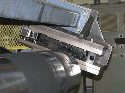 Superloadcell mounted on an angle, steel processing line